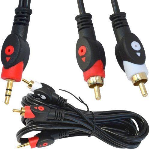 Аудіокабель TCOM Mini-Jack (3.5 mm) to 2RCA Cable 3 м Чорний
