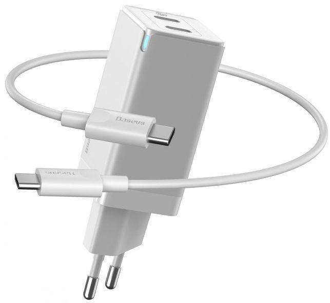 Мережевий зарядний пристрій Baseus GaN2 2xUSB Type-C 45W 20V 3A + Type-C to Type-C Cable EU White