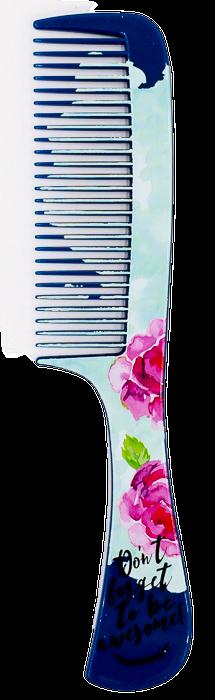 Гребень для волос LaRosa детский с ручкой плоский цветочный принт 20 см 7131