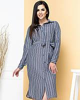 Новинка! Сукня сорочка з натурального льону, є батал, арт М350, колір джинс в смужку