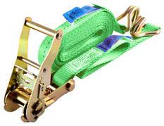 Стяжной ремень с трещотки и двумя крюками 4м 1т | Стяжные ремни | Стяжний ремінь