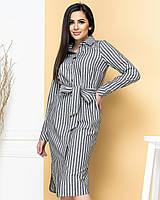 Новинка! Сукня сорочка з натурального льону, є батал, арт М350, колір темно сірий в смужку