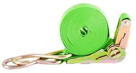 Стяжной ремень с трещотки и двумя крюками 5м 1т | Стяжные ремни | Стяжний ремінь