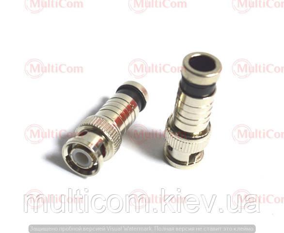 01-10-024. Штекер BNC (RG-6) под кабель, компрессионный, латунь
