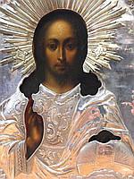 Икона писаная в серебряной ризе старинная
