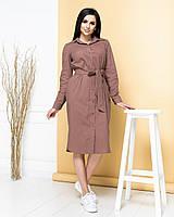 Новинка! Сукня сорочка з натурального льону, є батал, арт М350, колір кави