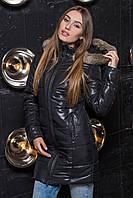 Зимняя женская куртка удлиненная с капюшоном и меховой отделкой, фото 1