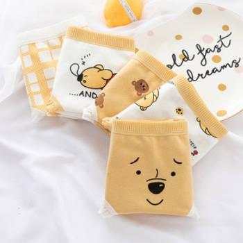 Набір жіночих трусиків з принтом жовті ведмедики 5 шт.