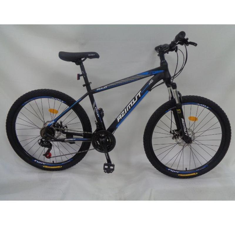 """Гірський велосипед Azimut Aqua 26"""" розмір рами 17"""" чорно-синій"""
