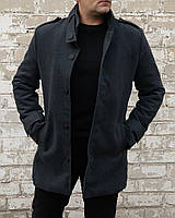 Мужское однобортное классическое утепленное пальто из кашемира серое | Полупальто демисезонное