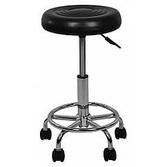 Кресло табурет на колесах без спинки круглое Bonro B-775-1 черное 40080031