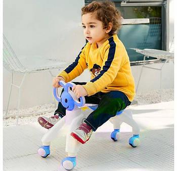 Ходунки - беговел чотириколісний з вушками-ручками BABY WALKER Smile каталка для малюків Синій