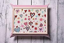 Поднос на подушке Mine Сердца Розовый (111771)