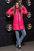 Яркая зимняя женская куртка удлиненная розового цвета, фото 1