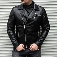 Мужская кожаная куртка косуха из кожзама черная | Байкерская кожанка осень весна
