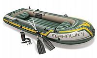 Надувная лодка Intex 68351 NP SEAHAWK 4, с веслами и насосом (351 х 145 х 43 см )