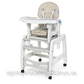 Стульчик M 1563-11 (1шт) для кормления, 2в1 (столик со стульчиком), качалка, колеса 4шт, кож,серый