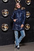 Зимняя женская куртка удлиненная с капюшоном синего цвета, фото 1