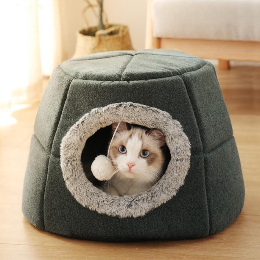 Распродажа! Домик складной теплый пирамида для кота собаки меховой с подушкой