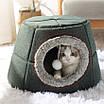 Распродажа! Домик складной теплый пирамида для кота собаки меховой с подушкой, фото 2