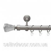 Карниз для штор металевий ЛУЧЕТТА однорядний 16мм 2.0 м Колір Сатин нікель