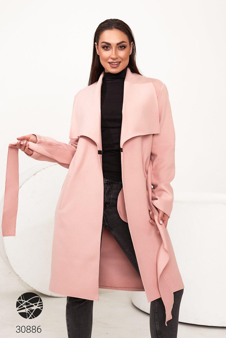 Розовое кашемировое пальто на запах. Модель 30886. Размеры 48-62