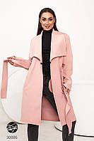 Розовое кашемировое пальто на запах. Модель 30886. Размеры 48-62, фото 1