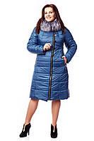 Теплый женский пуховик больших размеров с капюшоном Трелони р.48-60