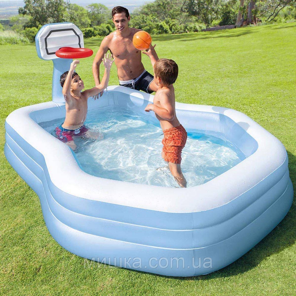 Дитячий надувний ігровий басейн з баскетбольним кільцем, 257*188*130 см, ІNTEX 57183
