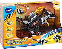 Интерактивный трансформер робот Динозавр вертолет 2 в 1 в  VTech Switch & Go Dinos Velociraptor Dinosaur