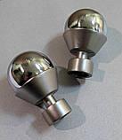 Карниз для штор металевий подвійний 16+16мм МЕЛЬБА Довжина 1.8 м Колір Хром (Сатин нікель), фото 2