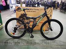 Велосипед Azimut Blackmount 26 дюймов. Дисковые тормоза. Черно-зеленый
