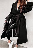 Пальто длинное демисезонное на запах,женское ,размеры:42-46,48-52