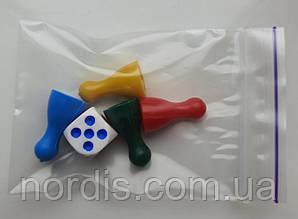 Набор фишек с кубиком для настольных игр.(4 фишки и 1 кубик)
