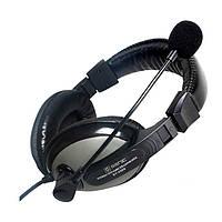 Наушники с микрофоном проводные Senicc ST-2688 2*3.5мм(3) каб.2.4м рег.гр. чёрные с серебр. новые