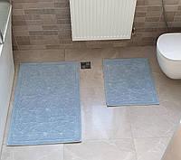 Набір килимків COTTONI 50х60 і 60х100 (TM Zeron) сіро-блакитний, Туреччина, фото 1