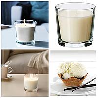 Ароматическая свеча в стакане IKEA SINNILIG 9 см х 40 часов горения декоративная ванильная ИКЕА СІНЛІГ