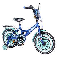 """Детский двухколесный велосипед 16"""" на 4-6лет TILLY Cyber для мальчика с приставными колесиками"""