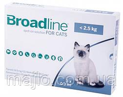 Капли Merial Broadline Бродлайн Spot-On от блох и клещей для кошек весом до 2.5 кг 3 шт