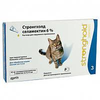 Капли Стронгхолд 6% 45мг  - Противопаразитарные  3 пипетки на холку Стронгхолд от блох и клещей для взрослых