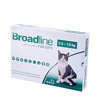 Капли Merial Broadline Бродлайн Spot-On от блох и клещей для кошек весом 2.5-7.5 кг 3 шт