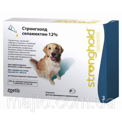 Капли Стронгхолд  Zoetis Stronghold 240мг/12% от блох и клещей у собак весом от 20 до 40 кг, 2 мл (1 пипетка)
