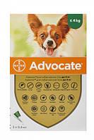 Капли Bayer Адвокат от заражений эндо и экто паразитами для собак до 4 кг 3 пипетки (4007221037408)