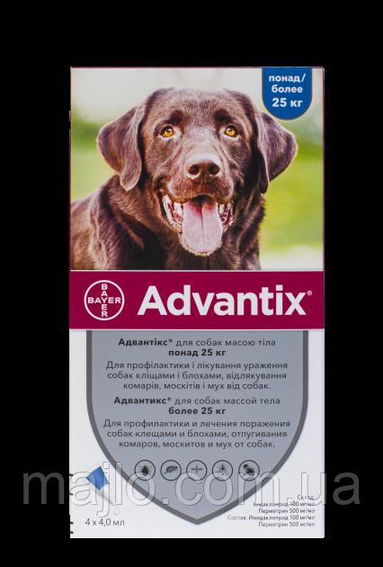 Краплі Bayer Адвантікс від заражень екто паразитами для собак понад 25 кг 4 піпетки