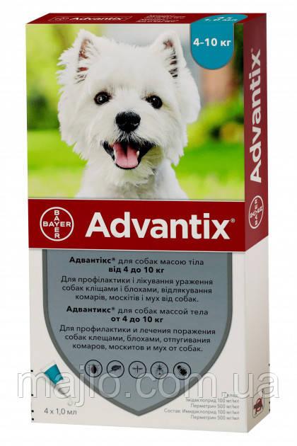 Краплі Bayer Адвантікс від заражень екто паразитами для собак 4-10 кг 4 піпетки (4007221037279/4007221047230)
