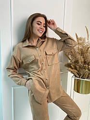 Жіночий брючний костюм замшевий