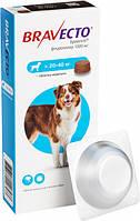 Жевательная таблетка Бравекто от блох и клещей для собак 20 - 40 кг