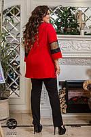 Котюм двійка з блузи з рукавами три чверті вставками з сітки і прямих брюк з 50 по 64 розмір, фото 3