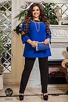 Котюм двійка з блузи з рукавами три чверті вставками з сітки і прямих брюк з 50 по 64 розмір, фото 2