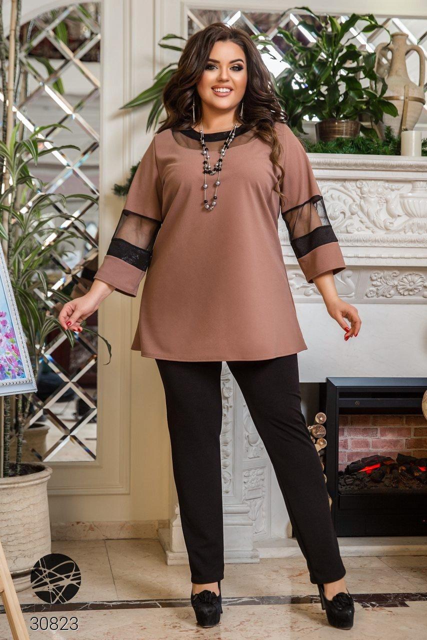 Котюм двійка з блузи з рукавами три чверті вставками з сітки і прямих брюк з 50 по 64 розмір